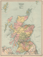 Scotland Railways, coach roads, canals & bus routes. Counties. LARGE 1912 map